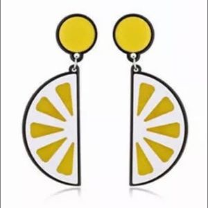 Lemon Acrylic Pierced Dangle Earrings